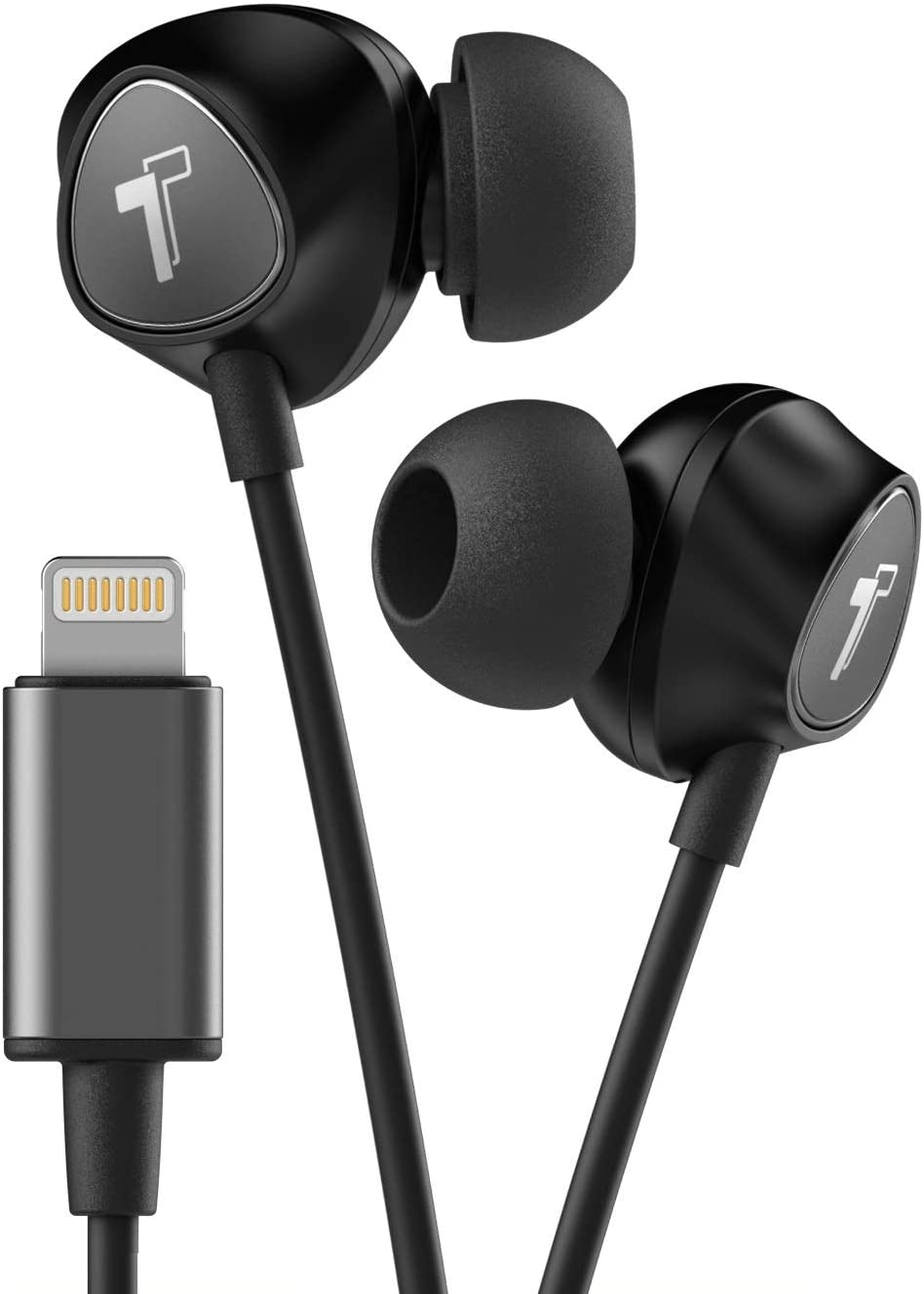 Thore Wired iPhone Headphones with Lightning Connector Earphones - MFi Certified by Apple Earbuds Wired in-Ear Microphone and Volume Remote for iPhone 12,13, Pro Max, Mini, XR, Xs, 11, 7, 8 (Black)