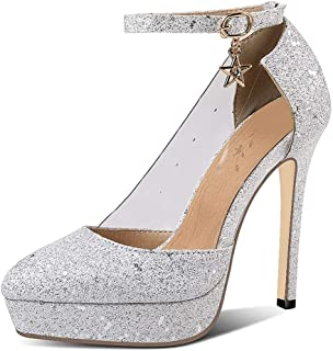 Sequins Pointed Platform High Heels For Banquet Wedding Dress Daily (Color : Silver, Size : 43)