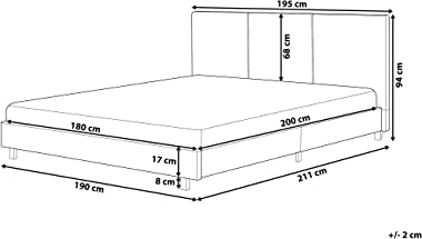 Beliani - Lit - Albi - 180 x 200 cm, en Tissu, Beige