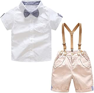 Yilaku Toddler Boy Clothes Set Long Sleeve Shirts+Bow Tie+Suspender Pants 2pcs Infant Outfit Suit Set 12Month-7 Years