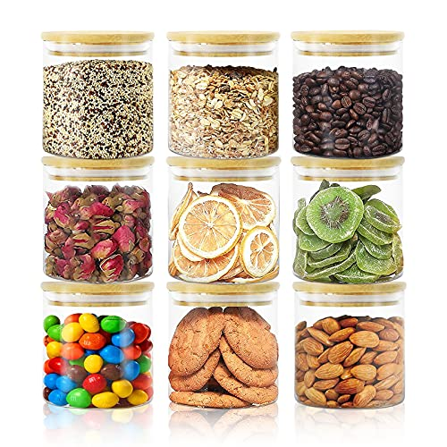 Glass Jars with Bamboo Lids, 9 Pack of 16oz Glass Food Storage Containers Set for Home Kitchen Pasta, Cereal, Oatmeal, Beans, Rice, Nuts, Coffee