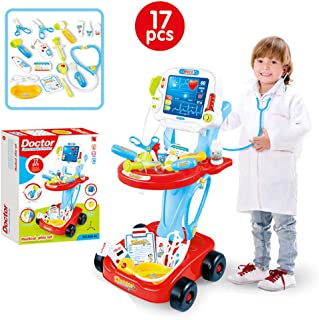 Auvem Kids Doctor Toy Set, Doctor Pretend Play Kit with Electric Simulation ECG Medical and Stethoscope, Organizer Role Playing Game Preschool Educational Toys (Red)