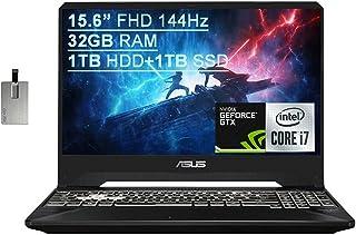 2020 Asus TUF Gaming FX505 15.6インチ FHD 144Hz ラップトップコンピュータ、第9世代 Intel Core i7-9750H、32GB RAM、1TB HDD+ 1TB SSD、バックライト KB、HD ...