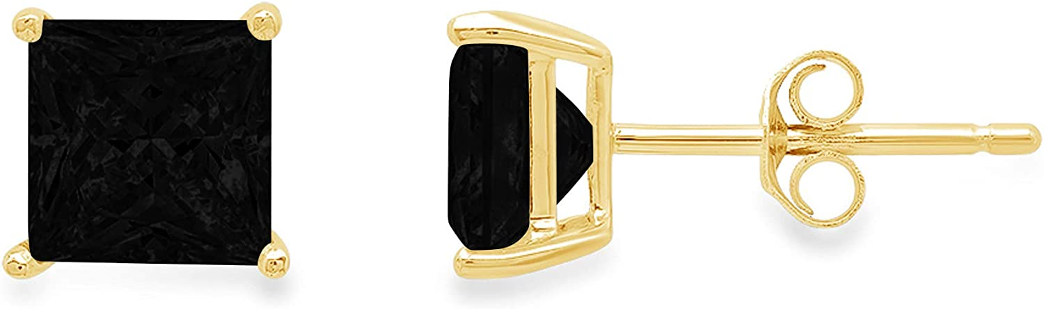 0.44cttw Brilliant Princess Cut Solitaire Flawless Genuine Natural Onyx Gemstone Pair of Designer Stud Earrings Solid 14k Yellow Gold Butterfly Push Back