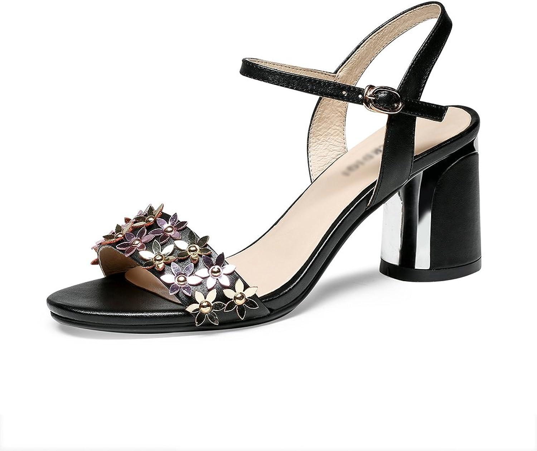 Sandalen GYHDDP Damen Damen Low Mid Heel Schuhe \ Ankle Strap Open-Toe Hohl Sommermode Dicke Ferse (Farbe   Schwarz, gre   38)