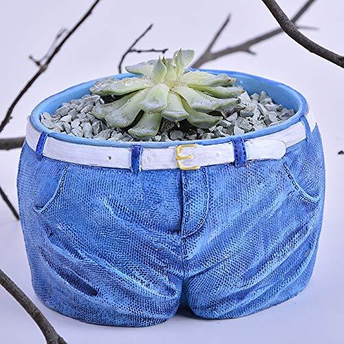 Rishx Jeans Statue Cour Balcon Vase en Résine Figurines Ameublement Décoration Jeans Pot De Fleurs Grandes Succulentes