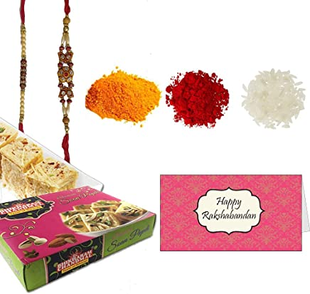 Delight Foods Bhikharam's Soan Papdi (Indian Sweet) - 400gm | Rakhi | Roli + Chawal + Chandan + Mishri | (for Brother)
