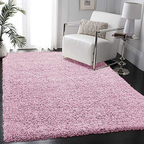 FunkyBuys Shaggy Rug Plain 5cm Thick Soft Pile Modern 100% Berclon Twist Fibre Non-Shed Polyproylene Heat Set - AVAILABLE IN 6 SIZES On Amazon (Baby Pink, 160cm x 230cm (5ft 3' x 7ft 7'))