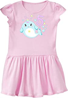 inktastic Happy 5th Birthday with Cute Narwhal Stars and Bubbles Toddler Dress