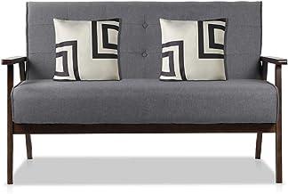 AODAILIHB Modern Fabric Upholstered Wooden 2-Seat Sofa, Sleek Minimalist Loveseat, Sturdy and Durable Double Sofa. Gift 2 ...