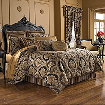 Five Queens Court Reilly Woven Chenille Damask Luxury Quality Embellished 4-Piece Comforter Bedding Set King Black and Gold