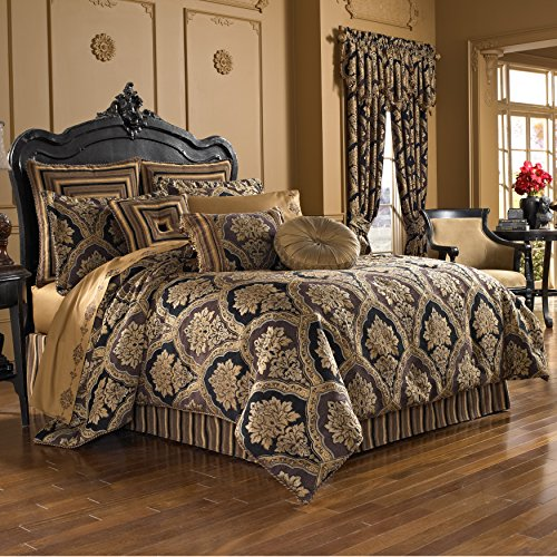 Five Queens Court Reilly Woven Chenille Damask Luxury Quality Embellished 4-Piece Comforter Bettwäsche-Set, schwarz/goldfarben, Queen