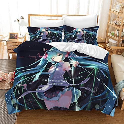 GD-SJK Bettwaren-Sets Für Kinder Cartoon Anime Hatsune Miku 3 Stück Bettwäsche-Sets Für Jugendliche,3D Bettwäsche Kinder Cartoon Anime Bettwäsche-Sets Twin Full Size Baumwolle Renforcé (G,135x200cm)