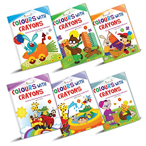 Cartoon Colouring Book Set of 6 : Pack of 6 Creative Crayon Copy Coloring Books for Children