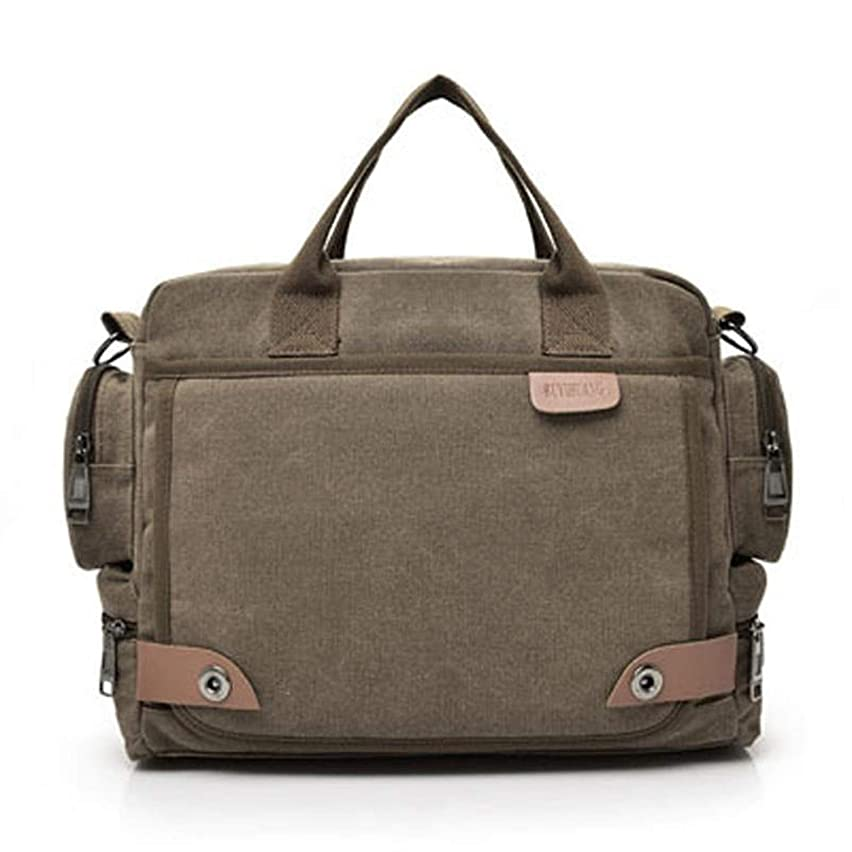 Sduyt New Leather Briefcases Men Laptop Briefcase Men'S Canvas Messenger Shoulder Bag Crossbody Sling Briefcase Bags Coffee United States