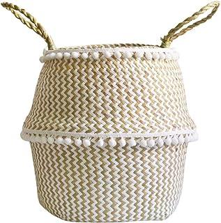 Amosz Canasta de Mimbre de Mimbre de Seagrass Colgante de Maceta Sucia Canasta de Almacenamiento de Cesta de lavander/ía Tama/ño: 2XL