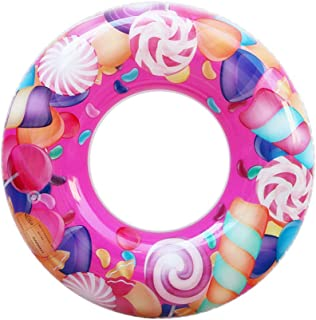 ZaH Swim Rings for Kids Adults Pool Swimming Ring Inflatable Float Raft Water Swim Tube Summer Beach Party Decoration (Pink Lollipop Printing, 27.5