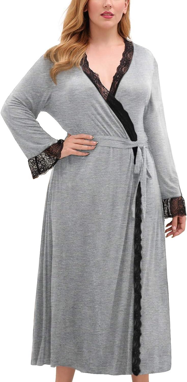 Celkuser Women's Plus Size Nightgown Lace Self Belted Nightdress Long Sleeve Loungewear Casual Soft Knit Maxi Robe CEL102