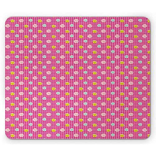 Moderne muismat, continue stijl Smiley Faces op geruite blokjes patroon, anti-slip Rubber, 25x30cm Hot Pink en Multi kleuren
