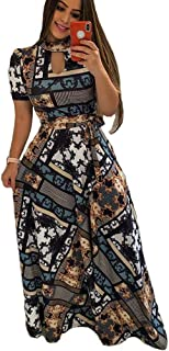 Women's Floral Maxi Dress Short Sleeve Maxi Long Dresses with Removable Belt