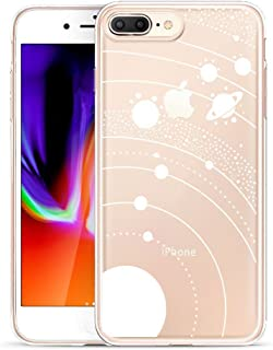 Unov Compatible Case Clear with Design Embossed Pattern TPU Soft Bumper Shock Absorption Slim Protective Cover for iPhone 7 Plus iPhone 8 Plus 5.5 Inch(White Universe)