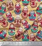 Soimoi 58 Zoll breit russische Puppe Print Kunstseide