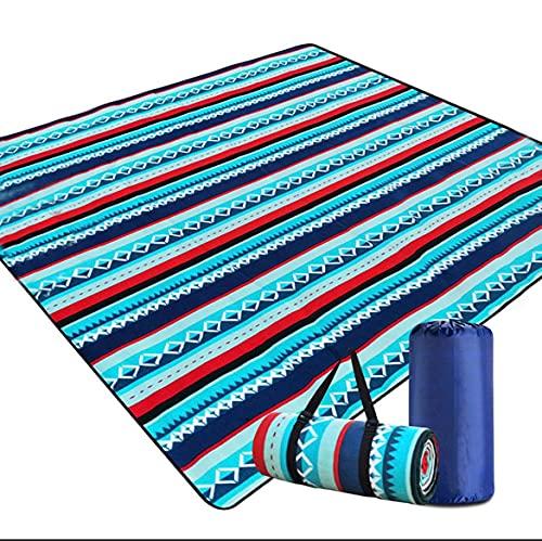 Amevkou, coperta da picnic, impermeabile, 200 x 200 cm, coperta da spiaggia extra large, impermeabile, pieghevole, XXL, lavabile, con borsa e tracolla per parco, campeggio (strisce blu e biance)