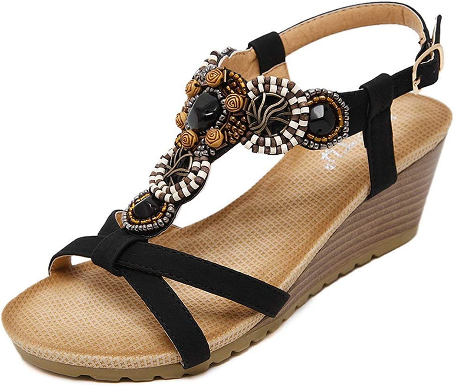 Ghapwe Women's Bohemian Beaded T-Strap Comfort Gladiator Wedge Heel Sandals Beige 4 M US