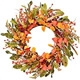 DearHouse Fall Wreath Red Berry Wreath,18 inch Artificial Autumn Maple Leaf Harvest Thanksgiving Door Wreath for Front Door with Leaf and Berry