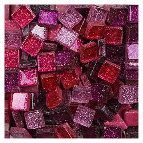 ShawnBlue 100 g de Brillo Brillante Mosaico de Cristal Azulejos 1 cm Cuadrado vs Forma Irregular Bricolaje Mosaico Mosaico Multicolor Manualidades Opcionales Materiales (Color : 100g Square p)