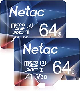 Netac Tarjeta de Memoria de 64GB Tarjeta Memoria microSDXC(A1 U3 C10 V30 4K 667X) UHS-I Velocidad de Lectura hasta 100 MB/s Tarjeta TF para Móvil Cámara Deportiva Switch Dashcam(2 Packs)