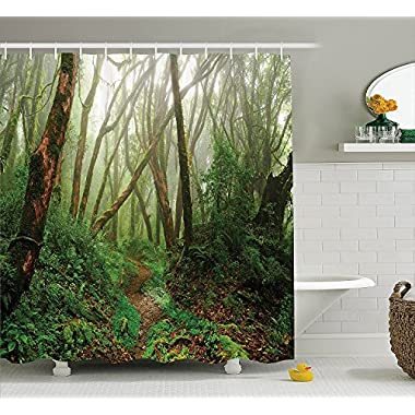 Ambesonne Farm House Decor Shower Curtain Set, Spooky Tropical Exotic Fog Jungle in Rainforest in Nepal Asian Climate Picture Print, Bathroom Accessories, 75 inches Long, Green Brown