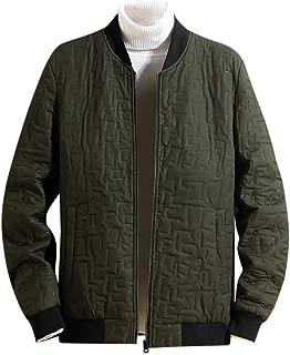 Men's Lightweight Down Jacket, Crewneck Loose Fit Solid Warm Zipper Long Sleeve Coat Outwear Tops