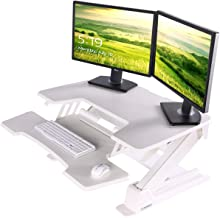 EUREKA ERGONOMIC Height Adjustable Desk 36'' Sit Stand Desk Standing Desk Converter Riser with Keyboard Tray White 2nd Gen...