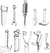 50 PCS Worker 3D Tool Charms Collection - Arm Saw Wrench Spanner Screw Driver Shovel Scoop Hammer Axe Ax Hatchet Chopper Hacksaw Drill Vise Pincer Pliers Metal Pendants (Silver HM28)
