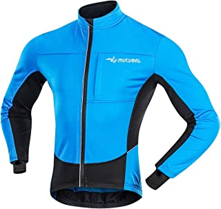 MUCUBAL Men's Cycling Jacket Windproof and Water-Resistant Coat Winter Thermal Breathable Bike Windbreaker
