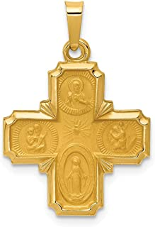 14k Yellow Gold Four Way Medal Pendant Charm Necklace Religious Fine Jewelry Gifts For Women For Her