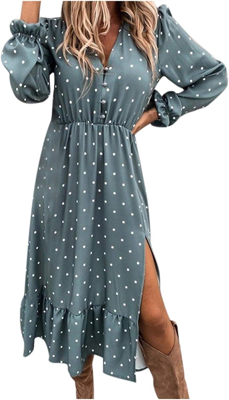Gwewei4df 2021 Plus Size Womens Summer Discount mail order Bi Dot Reservation V-Neck Polka Print