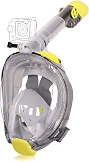 Unigear Full Face Snorkel Mask [2019 Safety Upgraded Version] - Panoramic 180° View with Handler Detachable Camera Mount, Anti-Fog Anti-Leak Free Breath Design