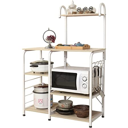 SogesHome Microwave Oven Stand with Little Hooks Kitchen Baker's Rack Storage Cart Workstation Shelf 90 x 42 x 130 cm,172-MO-SH-01