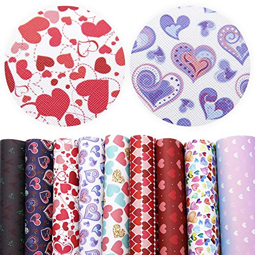 David accessories Heart Love Pattern Printed Faux Leather Sheets Fabric Canvas Back 9 Pcs 8' x 13'...