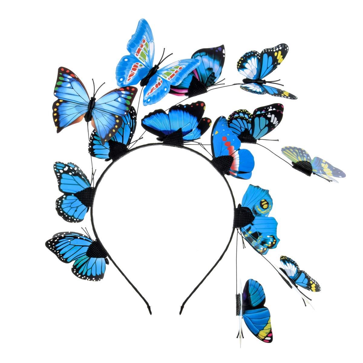 Merroyal Fascinators Boho Style Headband Butterfly Headpiece Butterfly Hat Headpiece Dress Up (Blue)