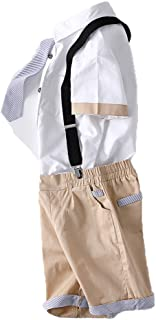 Kungfu ant Kids Boys 2 Pcs Gentleman Short Sleeve Tie Shirt and Overalls Shorts Sets for 2t to Size 10 Age Little Boys