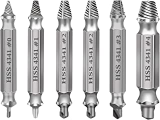 DBiUI Damaged Screw Extractor Set 6PCS for Remove Stripped and Broken Screws Drill Bit Set Made From H.S.S 4341