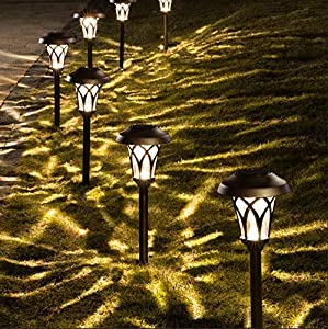 GIGALUMI Solar Pathway Lights 6 Pack, Solar Landscape Lights Warm White, Super Bright High Lumen Waterproof Metal Automatic Solar Yard Lights for Path, Garden, Lawn, Patio and Walkway
