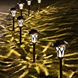 GIGALUMI Solar Pathway Lights 6 Pack, Solar Landscape Lights Warm White, Super Bright High...