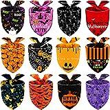 12 Bandane per Cani di Halloween Bavaglini Triangolari per Cani di Pipistrelli Zucca Fantasma Regolabili Sciarpa Fazzoletto da Collo per Animali Domestici di Halloween Lavabile per Costumi