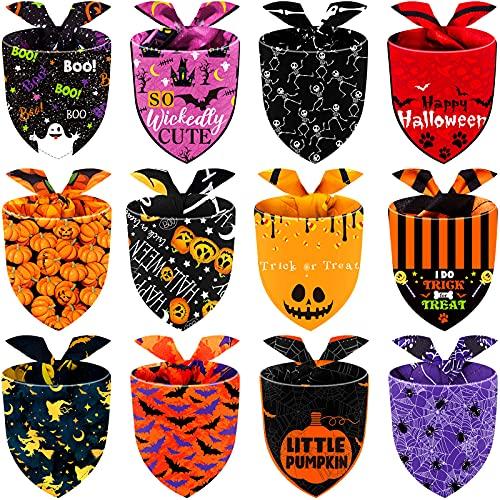 12 Stücke Halloween Hund Bandana Verstellbare Fledermäuse Geister Kürbis Hund Dreieck Lätzchen Waschbar Halloween Haustier Halstuch Schal Zubehör für Halloween Haustier Kostüm Versorgung