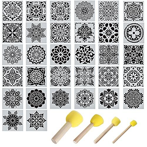 Gativs Plantillas Mandalas 32 Piezas Stencil Plantillas Vintage Plantillas para Pintar Plantillas de Dibujo Plantillas de Mandala Reutilizables Mandalas Plantillas y Espuma de Pintura Redonda Esponja
