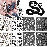 Kalolary 8 Piezas Pegatinas de Uñas de Serpiente Pegatinas de Uñas 3D Calcomanías de Uñas Decoración de Arte de Uñas Floral para Manicura Adhesivo Uñas Accesorio